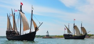 columbus ships sail past tybee